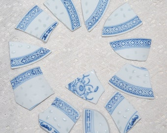 Blue and white plate pieces - 12 pieces - mosaic supplies