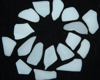 White Faux Sea Glass recycled glass (17 pieces)