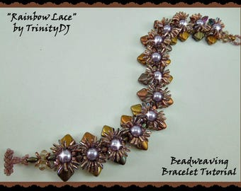 BP-PEY-152-2017-064 - Rainbow Lace - Bracelet Tutorial, 2 hole bead jewelry, beadweaving pattern, beaded bracelet, beadwork