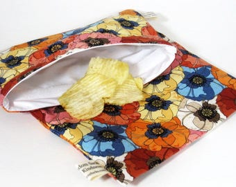 Poppies Reusable Sandwich and Snack Bag Set