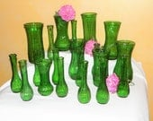 20 Vintage Green Glass Coordinating Ribbed Vases