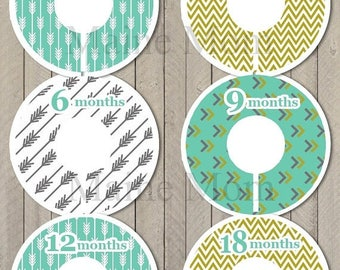 ON SALE 6 PRECUT Baby Closet Dividers Baby Shower Gift Arrow Chevron Tribal Nursery Decor Clothing Baby Clothes  No Cutting Required