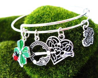 Silver BANGLE Irish Claddagh, Four Leaf Clover Ladybug, Antique Silver Irish Tara Brooch charm,Map of Ireland Charm Bracelet-Ireland Jewelry