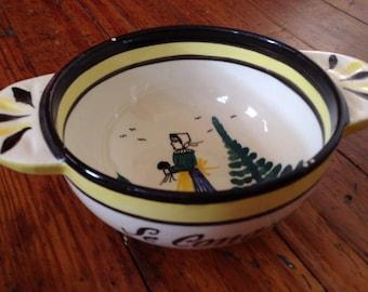 Quimper Cafe Au Lait Bowl - French Vintage