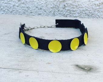 Slow Down yellow and black leather choker by Ankh By Racquel