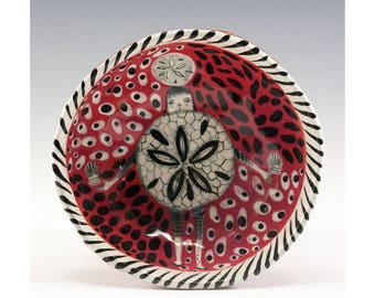 Sand Dollar Painting by Jenny Mendes in a Red Ceramic Pinch Bowl Finger Bowl In Wabi-Sabi Style