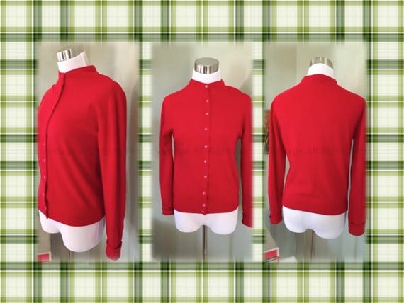 1950s Full Fashioned Mongolian Cashmere Cherry Red Button Down Cardigan Sweater-S M