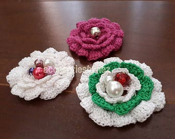 Crochet Flower Pattern, Crochet Flowers, Flower Applique Pattern, PDF file, Embroidery Projects, Crochet Roses Pattern