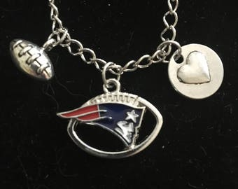 New England Patriots football charm necklace, 20 inch silver tone chain. Football jewelry ,Valentines gifts,, Patriots.