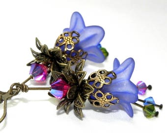 Lucite Trumpet Flower Earrings - Victorian cobalt blue Lily - Brass bead caps and leverback earwires - Swarovski crystals