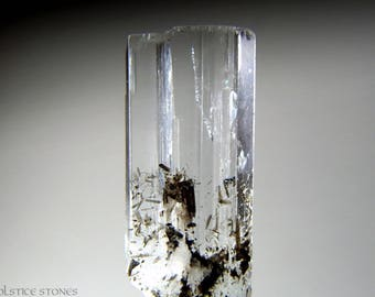 Small Twin Aquamarine Crystal with Black Tourmaline // Throat & Third Eye Chakra // Crystal Healing // Mineral Specimen