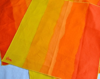 Vintage Vera Napkins - Summer Color Block Stripe in Yellow and Orange - 6