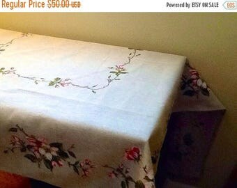 Beige Tablecloth with Cherry Blossoms