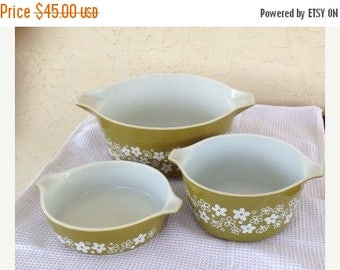 Sale Set of 3 Pyrex Spring Blossom Casserole Dishes