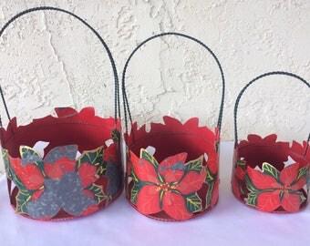 Set of 3 Vintage Metal Poinsettia Baskets