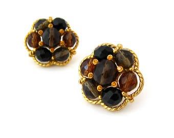 JOAN RIVERS Glass Bead Chunky Earrings • Black Brown Rhinestone Clip On • Vintage 1980s Jewelry