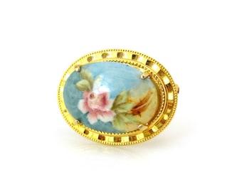 Vintage 1950s Pink Rose Porcelain Brooch, Signed E Scott Flower Ceramic Pin, 50s Costume Jewelry