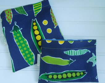 Reusable sandwich and/or snack bag - Reusable snack bag - Fabric sandwich bag - Reusable bags set - Peas in a pod