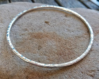 Silver Bangle - Hammered Silver - Textured Finish - Round Bangle - Sterling Silver