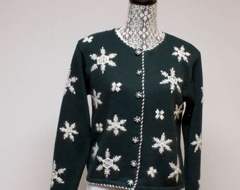 Vintage Green Women's ugly Christmas sweater cardigan - with snowflakes  size small by Paul Harris Design
