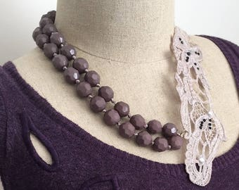 Womens Unique Dusty Lilac Purple Beaded Asymmetrical Lace Bib / Necklace with Silver Clasp and Extender Chain / Gift 4 Her / Bridal Necklace