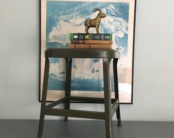Vintage Mid Century Industrial Green Metal Stool, machine shop, side table, drafting stool