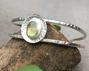 Hammered Sterling Silver and Moss Aquamarine Cuff Bracelet - Green Gemstone Bracelet - Moss Aqua Jewelry - Hammered Silver Cuff Bracelet