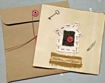Large Handmade card, primitive handmade card, collage card, home sweet home, rustic shabby, country cottage, recycled, buttonstring envelope