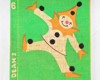 Vintage Cloth Book, deans rag book, vintage rag book, new old stock, cloth book, rag book, clown, childs book, 1950s child book
