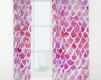 Mermaid curtains - Pink Curtains - Watercolor curtains - Window Curtains - Window Treatments - Curtain Panel - Drapes -