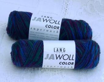 DESTASH - 2 Skeins Jawoll Color Sock Yarn - Blues, Purples, Greens - with matching reinforcement yarn