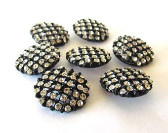 Lot of Seven Vintage Openwork  Black Metal with Clear Rhinestones Shank Buttons