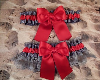 Scarlet Red Satin Grey Lace Gray Satin Wedding Bridal Garter Toss Set