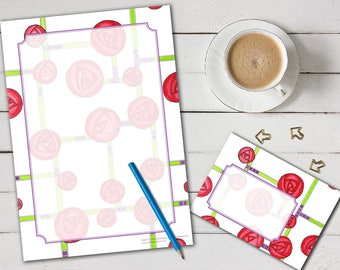 Mackintosh Roses 'print your own' letter writing paper set