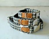 Harris Tweed Dog Collars,  Black and white Houndstooth ,Black and White Tweed Dog collar, Tweed Dog Collar. Designer dog collar
