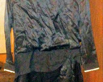 Sale-Vintage Handmade Black Satin Drop Waist Dress