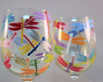 Hand painted wine glasses with multicolor dragonflies - painted dragonfly glasses - colorful wine glasses - set of 2