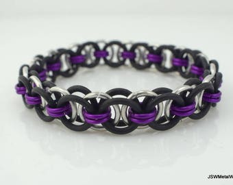 Men's Black and Violet Stretch Chainmail Bracelet, Women Black Stretch Chainmaille Bracelet, Unisex Jewelry, Violet Bracelet, Holiday Gift