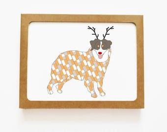 Holiday Australian Shepherd Reindeer Card for Christmas Greetings or Happy New Year Cards