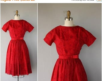 48 HR FLASH SALE 1950s Red Party Dress | 50s Party Dress | 1950s Dress | 50s Prom Dress | 1950s Chiffon Dress (small)