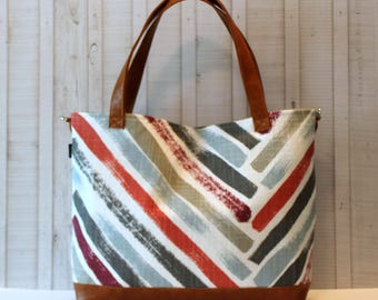 Scarlet Stripe with Vegan Leather -Tote Bag /  Diaper Bag - Medium / Large Bag