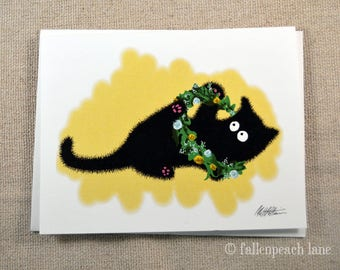 Black Cat with Flower Crown - Illustrated Blank Greeting Card with Sammy the Cat