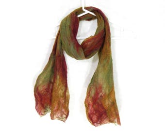 Cobweb Felted Scarf, Handmade Wool Winter Scarf, Red Gold Green, Long Womens Mens Unisex Scarf, Winter Fashion Accessory, OOAK Gift for Her