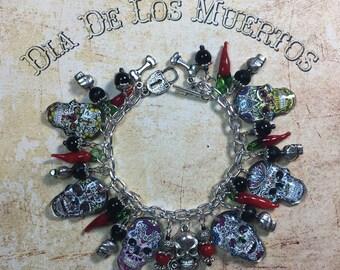 Dia De Los Muertos Sugar Skull Charm Bracelet