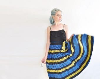 mid century tribal print silk circle skirt . 1950 blue yellow batik pattern midi .extra small.xs .sale