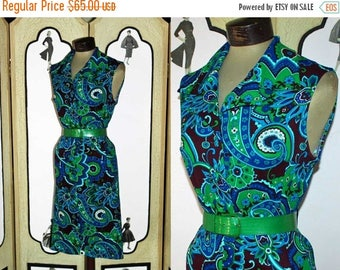 ON SALE Vintage 1960's Sleeveless Paisly Day Dress in Blues and Greens. Medium to Large.