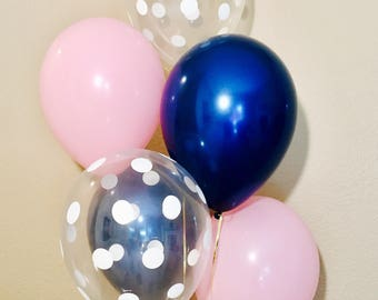 Navy Pink White Latex Balloons, Navy Balloons, Navy and Pink, Pink and Navy Balloons, Navy Bridal Shower, Pink and Navy Theme, Pink Latex