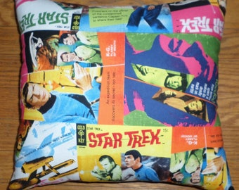 New * STAR TREK * Comic Book Covers Decorative Cotton Fabric Pillow - Handmade in the U.S.A.