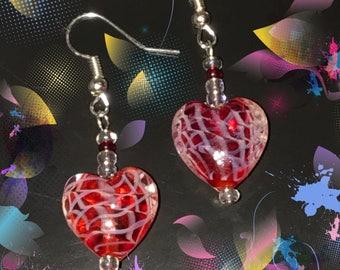 Beautiful Handmade Earrings with Red Glass Hearts