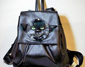 Black Leather Large Backpack Rucksack with 3D leather face. Women Men travel backpack daypack bag. Real fur leather critter